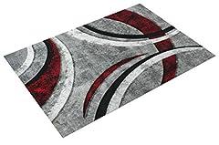 Idea Regalo - Paco Home Tappeto di Design con Bordo Definito Motivo A Righe Grigio Nero Rosso Screziato, Dimensione:160x230 cm