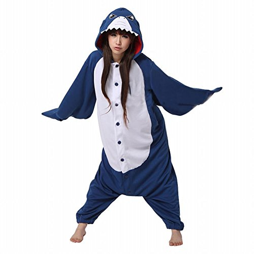Anbelarui Tier Skelett Pinguin Dinosaurier Panda Einhorn Kostüm Damen Herren Pyjama Jumpsuit Nachtwäsche Halloween Karneval Fasching Cosplay Kleidung S/M/L/XL (L, Hai)