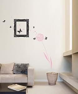 Cadre photo, Bijoux pissenlit et papillons Rose Sticker mural Motif art déco