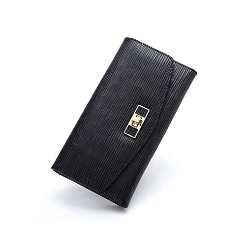 Yvonnelee Donne Della Signora Frizione Lungo Della Borse Borsa UP cuoio Della Carta Portafoglio Leather Titolare Nero