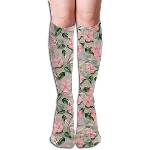 Women's Fancy Design Stocking Victorian Blush Pink Watercolor Birds And Flowers On Gray Multi Colorful Patterned Knee High Socks 19.6Inchs