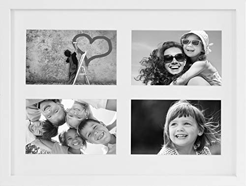 BD ART 28 x 35 cm Mehrfach Bilderrahmen, Bildergalerie, Fotogalerie mit Passepartout und 4 Foto-Ausschnitten für Fotos 10 x 15 cm, Weiß
