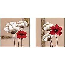 Wieco Art Lot de 2photos imprimées sur toiles encadrées Motif fleurs Rouge et blanc