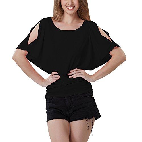 iBaste Damen Oberteil Festlich T-Shirts Bluse Elegant Shirt Kurzarm Große Größen Schwarz(Schulterfrei)