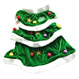 POPETPOP Pet Christmas Costume-Christmas Tree Shaped Dog Costume Pet Winter Clothes Comfortable Warm Christmas Hoodie Dress for Party - Size M(Green)