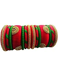 Buds To Blossoms Bangles Collection For Women(Silk Thread Bangles For Women ,Color-Red & Green,Size-2.4)