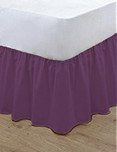 nz Bluemoon Bedding® Plain Dyed Poly Cotton Soft Frilled Base Valance Sheets Bed Sheets Covers All Sizes (Double, Plum)