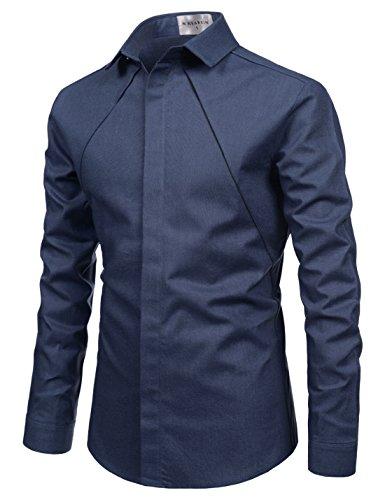 Nearkin Mens Spread Collar Chest Line Hidden Button Fitted Shirts