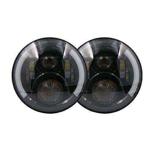 Preisvergleich Produktbild sourcingmap® 2Stk. 7'' runde Hoch / Niedrig LED Scheinwerfer mit DRL Angel Augen für Jeep Wrangler JK