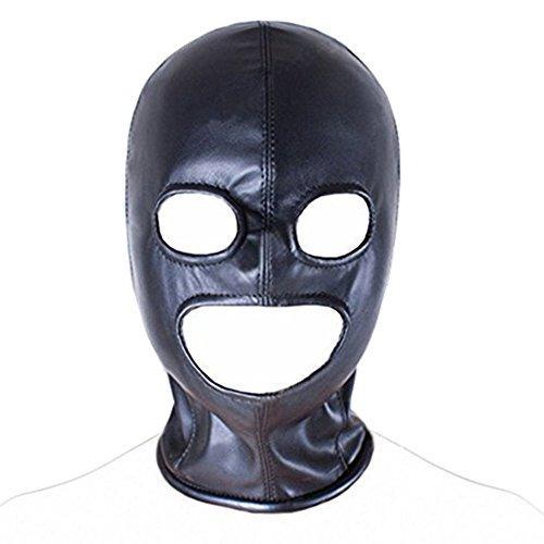 Yujiang-EUR PU cuero fetiche boca abierta arnés arnés capucha máscara de ojo cubierta de la cabeza Bondage Restricción traje adulto SM juego de juguetes sexuales para pareja como imagen One Size