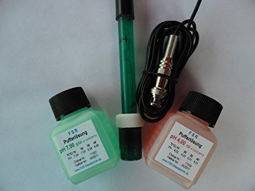 pH ELEKTRODE mit BNC STECKER WERT MESSGERÄT AQUARIUM inkl pH4/pH7 KALIBRIERLÖSUNG (Ph-kalibrierflüssigkeit)
