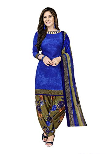 GiftsnFriends Women\'s Crepe and Synthetic Patiala Suit Unstiched Dress Material- (GSLOWEDM6076,Blue,Free Size)