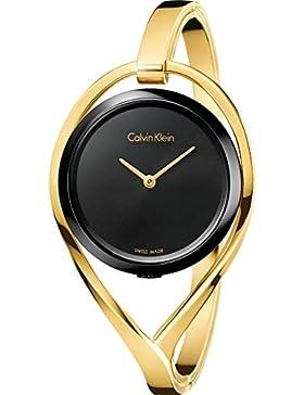 Calvin Klein Damen-Armbanduhr Analog Quarz One Size, schwarz, gold