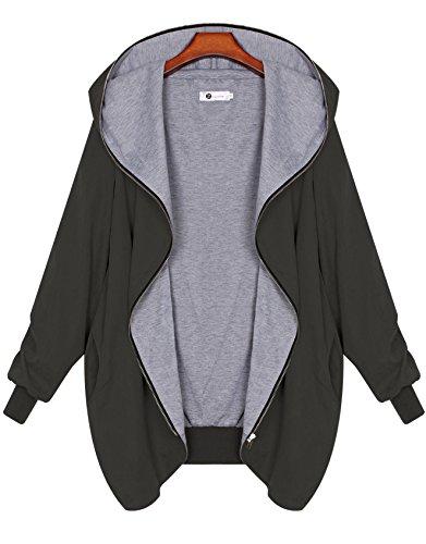 Zarlena Damen Full Zipper Jacke Hoodie Oversize Parka Kapuzenjacke Asphalt L (Jersey Hoodie-jacke)