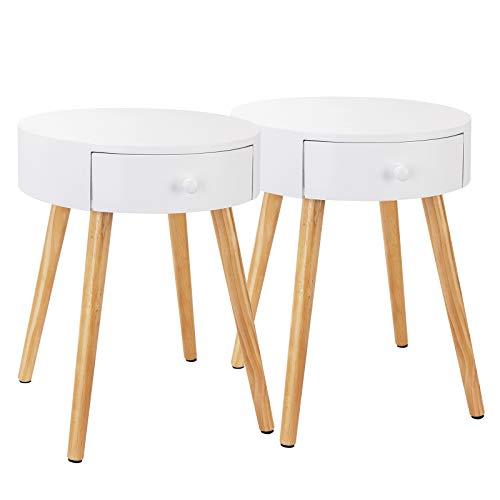 Woltu ts51ws-2 set di 2 comodini con cassetto comodino rotondo tavolino da salotto in legno