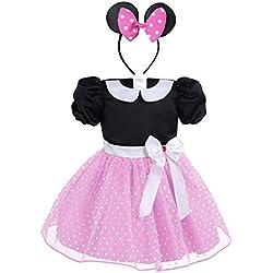 IEFIEL Vestidos de Princesa Fiesta Bautizo para Bebés Niñas Disfraces Infantiles de Navidad Carnaval con Lunares (9 Meses-4 Años) Rosa 3-4 Años