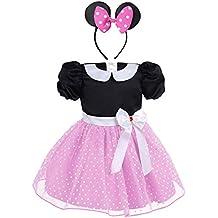 iiniim Conjunto de Disfraz Niña Bebé Vestido + Diadema Princesa Lunares Tutú Vestido Vintage Espalda Abierto