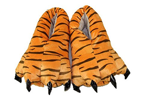 hippolo FashionFits Unisex Suave Felpa casa Zapatillas Zapatos de Garra de Huella de Animal Disfraz Leopardo L(EUR39-45)