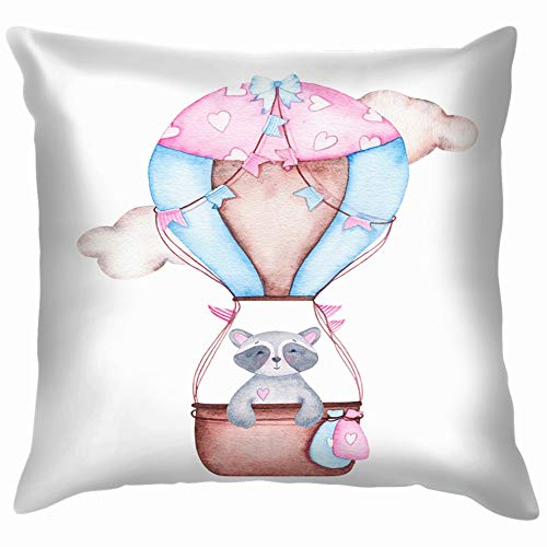 beautiful& Watercolor Girl Baby Shower Cute Hot Animals Wildlife Adventure Transportation Cotton Linen Home Decorative Throw Pillow Case Cushion Cover for Sofa Couch 18X18 Inch