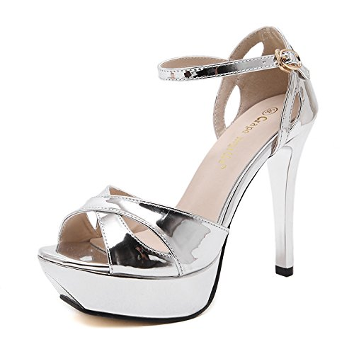 WZG Die neue ultra-hohe Art und Weise mit Geldstrafe mit wasserdichten Sandalen Frauen Schuhe Modehandel Silver