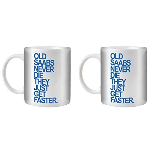 STUFF4 Tee/Kaffee Becher 350ml/2 Pack Saab/Blue Text/Alte Autos/Weißkeramik/ST10
