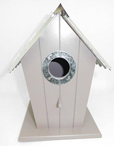 Nichoir Oiseau en forme de Maison en Bois avec toit en Métal - Jardin Nid Nourriture - 564