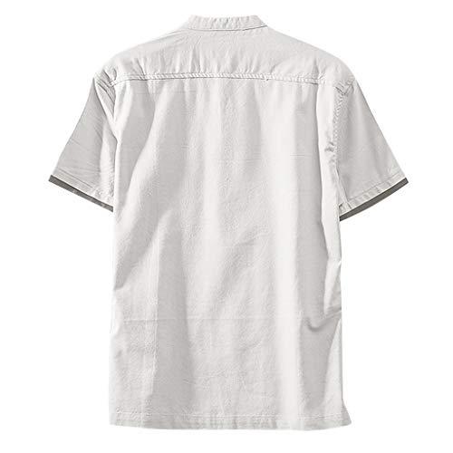 Herren Leinenhemd leinen Shirt Kurzarm Retro T Shirts Oberteile Bluse T-Shirt Kurzarmshirt Oversize Longshirt Basic V-Neck -