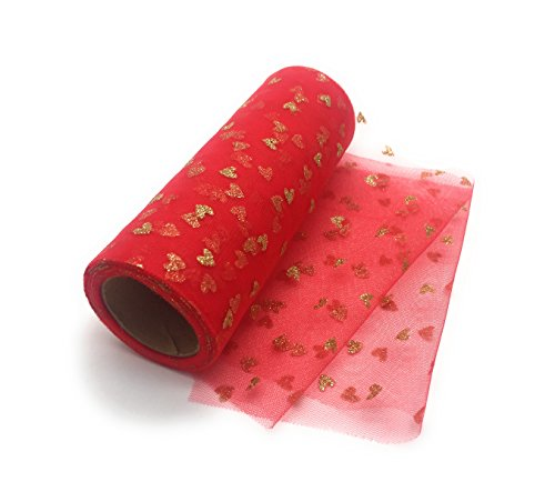 Tüllstoff-Rollen zum Basteln, handgefertigt, Tutu-Rock, Geburtstag, Hochzeit, Dekoration, DIY-Geschenke, mit glänzenden Herzen, 15 cm breit x 3 m, Grau Specials Now rot