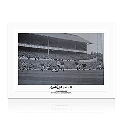 Jimmy Greaves Signed Spurs Print - Jimmy Greaves Scoring Against