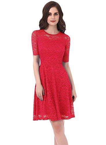 Dressystar Damen Vintage Kleid Abendkleid Spitzen mit Ärmeln Casual ...