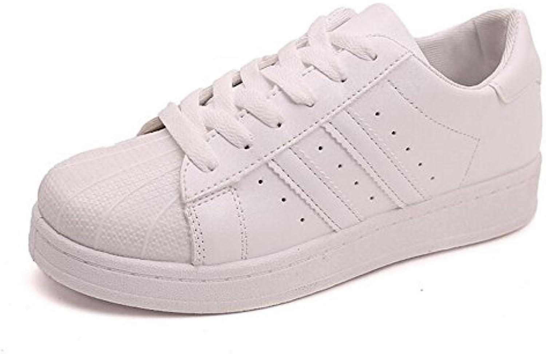 GAOLIXIA Zapatos de Mujer PU Spring Shell Head Fall Comfort Sneakers Flat Heel Punta Redonda con Cordones para...