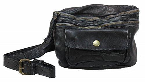 BZNA - Borsa a tracolla da cintura, in pelle, colore: nero