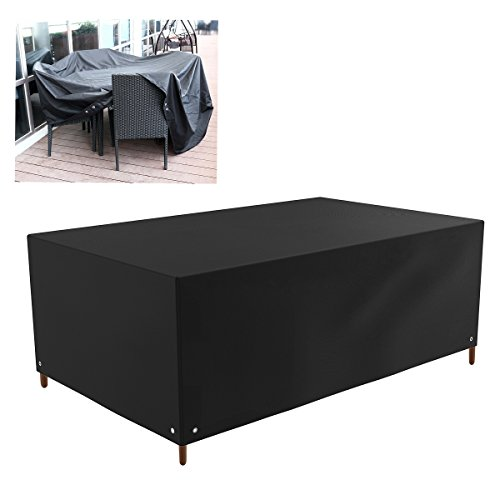 WINOMO Rectangle Table Patio Cover Sofa Stuhl Lounge Outdoor Möbel Staubschutzhülle 213x132x74cm (schwarz)