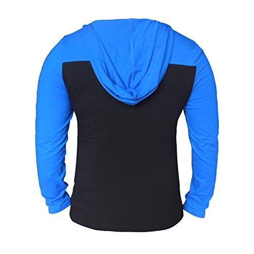 Alivebody Herren Longsleeve Kapuze Hoodie Muskelaufbautraining Sportshirt Blau + Schwarz