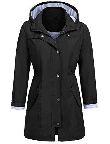L'AMORE Damen Parka Regenjacke Windbreaker Übergangsjacke Funktionsjacke Regenmantel mit Kapuze Casual Jacke Outwear in 5 Farben