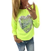 Camisas Mujer Tallas Grandes,Modaworld Camisa Holgada Casual Camiseta De Cuello Redondo Fluorescente Jersey De