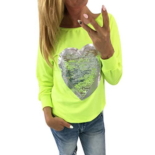 Plus Größe Western Und Country Kostüm - NPRADLA 2018 Damen Herz Pailletten O Hals Langarm Bluse Damen Top Shirt Bluse T Shirt(Gelb,5XL)