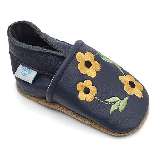 der Babyschuhe. Rutschfesten Wildledersohlen. 2-3 Jahre (25 EU). Marineblauer mit bestickter gelber Blume. ()