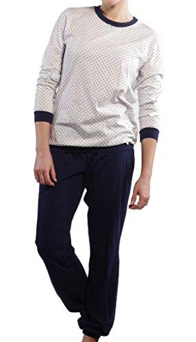 Seidensticker Damen langer Schlafanzug Pyjama Lang - 142129 Blau