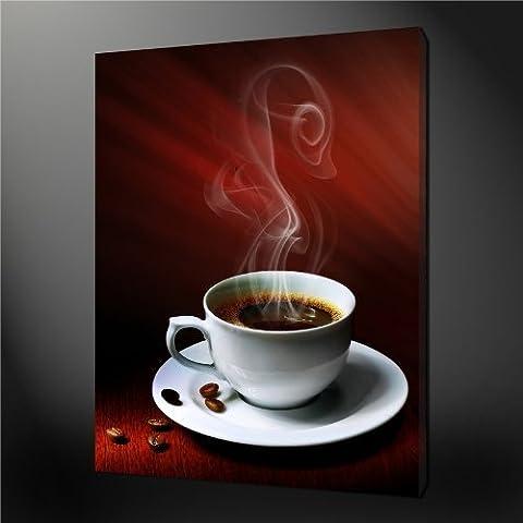 Impression sur toile murale Art Photo d'une tasse de café chaud avec grains de café et Magic fumée peintures moderne giclée tendue et encadrée illustrations images à la abstraite Impressions Photo sur toile