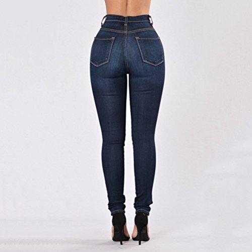 Zhhlaixing Taglie Comode XXXL Classic High Elasticizzati Stretch Washed Skinny Strappati Jeans for Donna Blue Dark Blue
