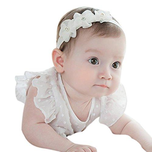 ädchen-Prinzessin-Kristalldiamant-Stirnband-Blumen-elastisches Haar-Band (Weiß) (Blume-stirnband)
