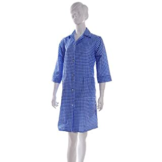 Ladies Gingham Check Work Overalls with ¾ Length Sleeves Blue OS