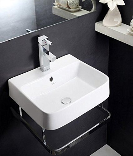 Hindware Element 91057 Ceramic Wash Basin With Towel Rail (White ,One Piece)