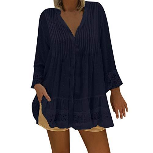 CAOQAO Damen T-Shirt Mit Gefaltetem Druck V-Ausschnitt Kaftan Boho Strand Cover Plus Size Damen Vintage Hippie Baggy Bluse Mode LäSsig Tunika (XXXXXL,Blau)