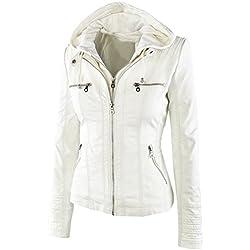 FANTIGO Mujeres PU cuero Zip Up con capucha Biker Bomber Chaquetas Outwear Classic Vintage abrigo de invierno(Blanco,S)