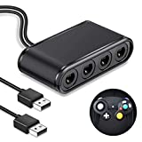 Adapter für Gamecube Controller, BEBONCOOL NGC Controller Adapter für Nintendo Switch/Wii U/PC, USB Plug & Play, 4 Port Schwarz, Adapter für Super Smas Bros (Upgraded Version) -