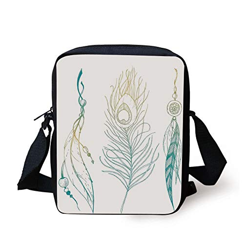 Feather House Decor,Aesthetic First Nations Feather and Peacock Tail Traditional Design,Mint Yellow Print Kids Crossbody Messenger Bag Purse -