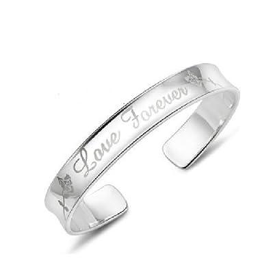 JMT Plata de ley 925 pulsera femenina joyas enchapadas Forever Love abrir brazalete de JMT