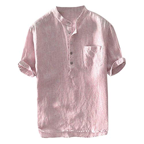 Shortsleeve T-Shirt Herren Poloshirt Kurzarm Tee Männer Muskel Slim Fit Fitness t Shirt Sommer Baumwolle und Leinen Kurzarm Shirt Tops Blusen Einfarbig Oberteil Reise Hemd S-XXL ()